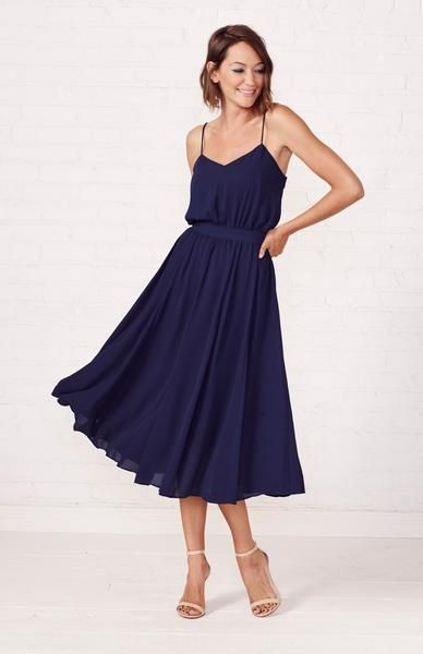 Classy And Elegant Our Mesa Tea Length Dress Is A Sophisticated Choice For Your Nex Wedding Guest Dress Summer Blue Wedding Guest Outfits Wedding Guest Outfit