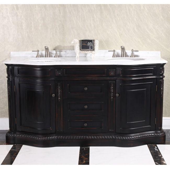 Natural Stone Top 68 Inch Double Sink Vintage Style Bathroom Vanity