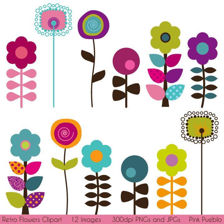 Retro Flower Clipart Clip Art Vintage Flower Clip Art Clipart Vectors Commercial And Personal Use Clip Art Freebies Flower Clipart Clip Art Vintage