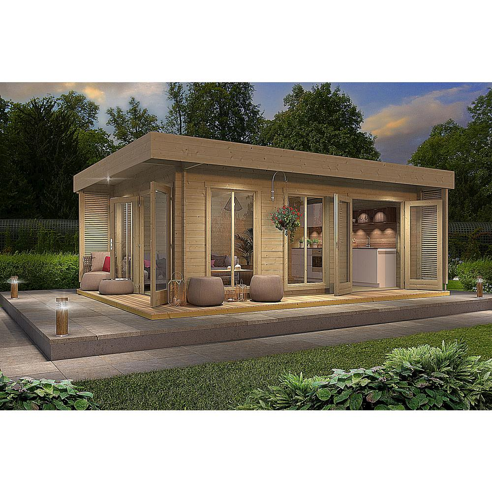 Allwood Bonaire 225 Sq Ft Cabin Kit Garden House Cab Bonaire Hd The Home Depot In 2020 Cabin Kits Cabin Pool House