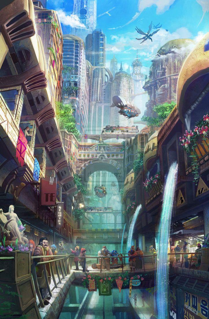 Game Landscapes By Tyler Edlin Fantasy City Landscape Concept