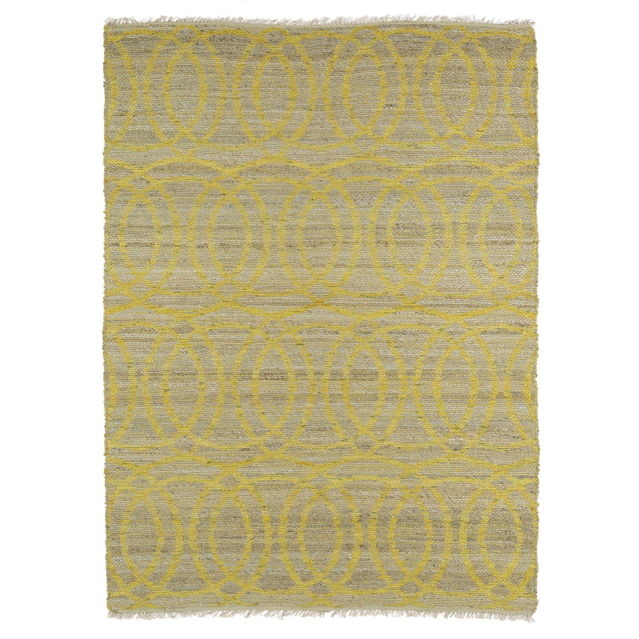Kaleen Rugs Handmade Natural Fiber Cayon Yellow Circles Rug (5'0 x 7'9) (5'0 x 7'9), Size 5' x 7' (Jute, Geometric)