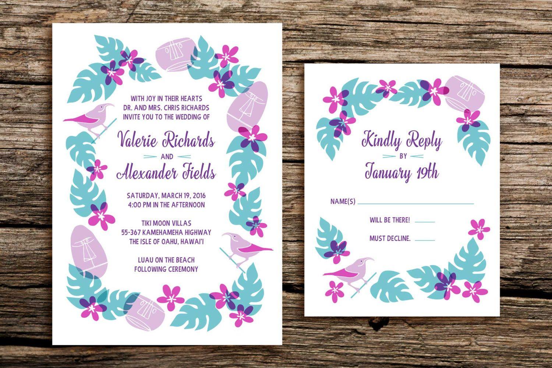 Retro Tiki Wedding Invitation Set // Tiki Wedding Invitations Hawaii ...