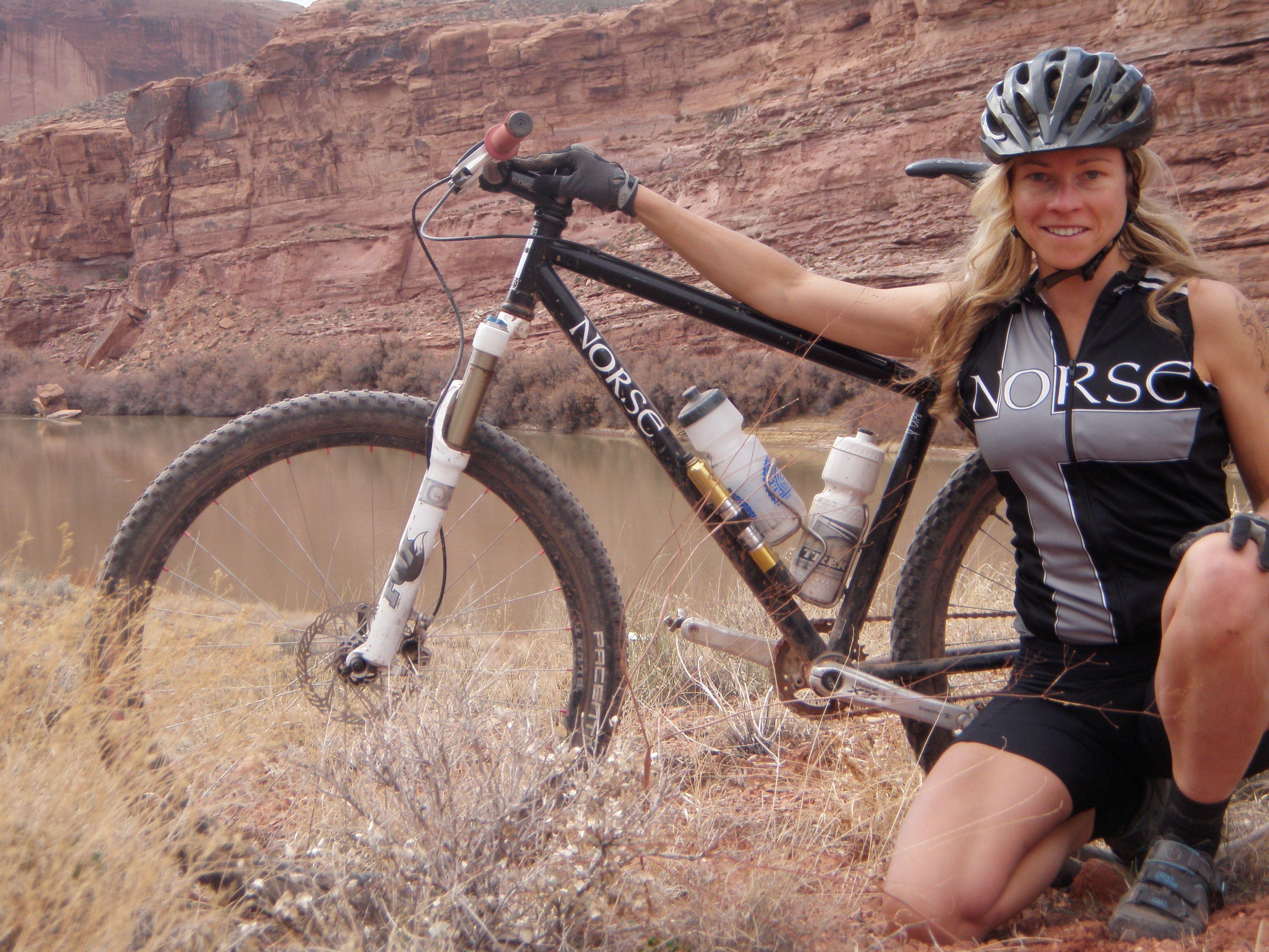 Hot girl on bicycle women