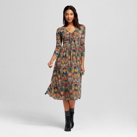 0149545e0dd16fee7130c45e4552bfde women's floral midi dress olive xhilaration™ (juniors') target,Target Womens Xhilaration Clothing