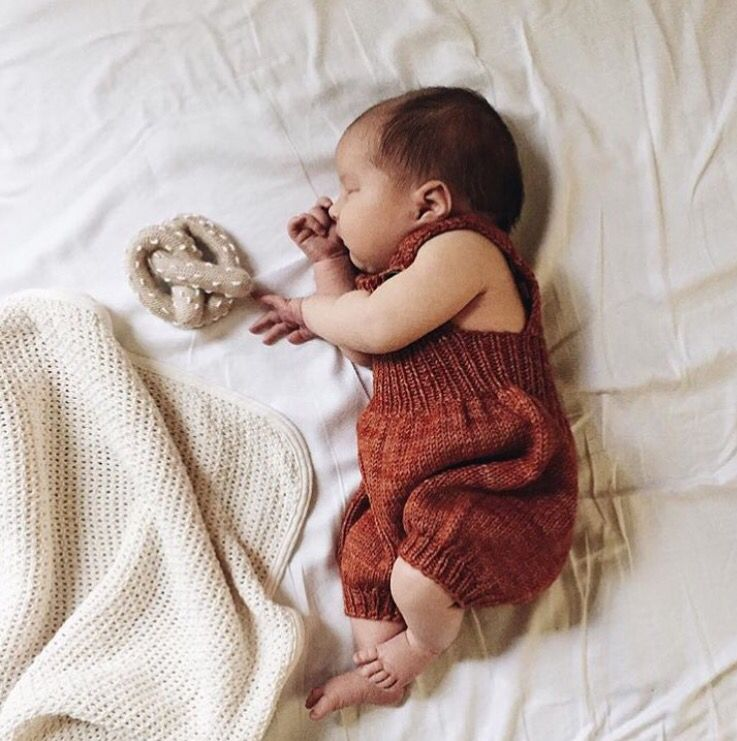 Knitted overall and pretzel/ @calivintage  #estella #baby #organic #toys #photography