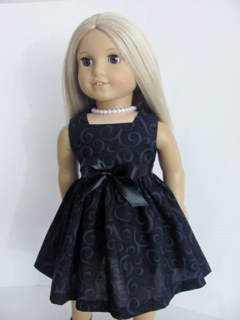 Little Black Doll Dress and Sash for the American Girl Doll by TheWhimsicalDoll2