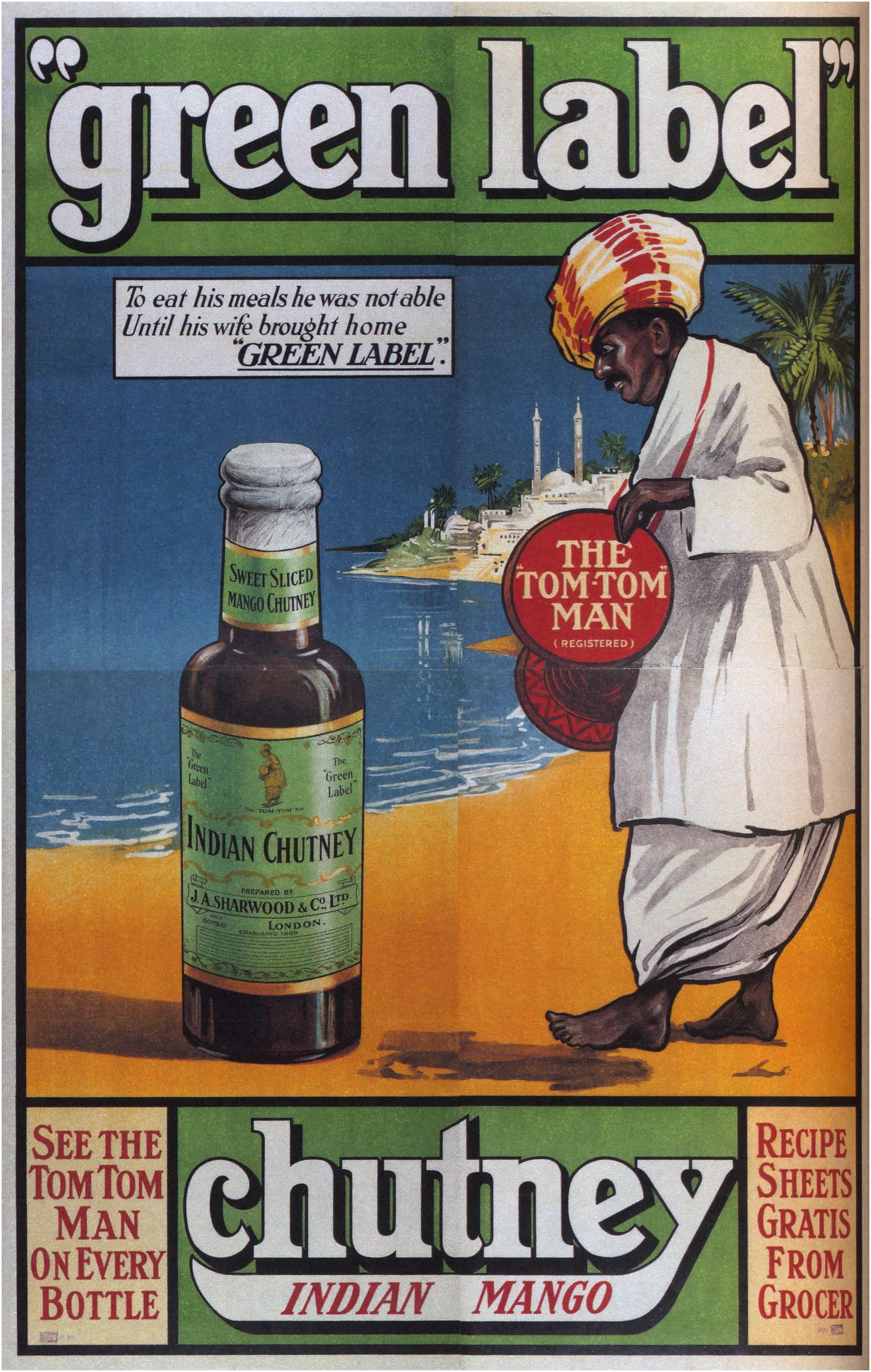 Old Advert Poster: Green Label Indian Mango Chutney circa ...