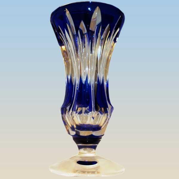 Val Saint Lambert Vase En Cristal Bleu Cobalt Sign Floriac