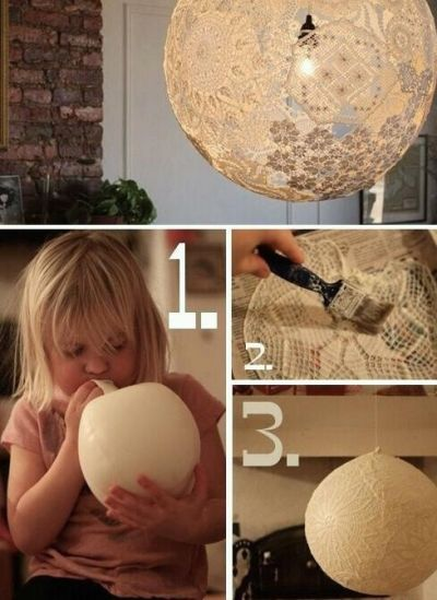 Make your own cute lighting by using doilies, balloons, and glue. Find everything you need at any Dollars and Cents store.
