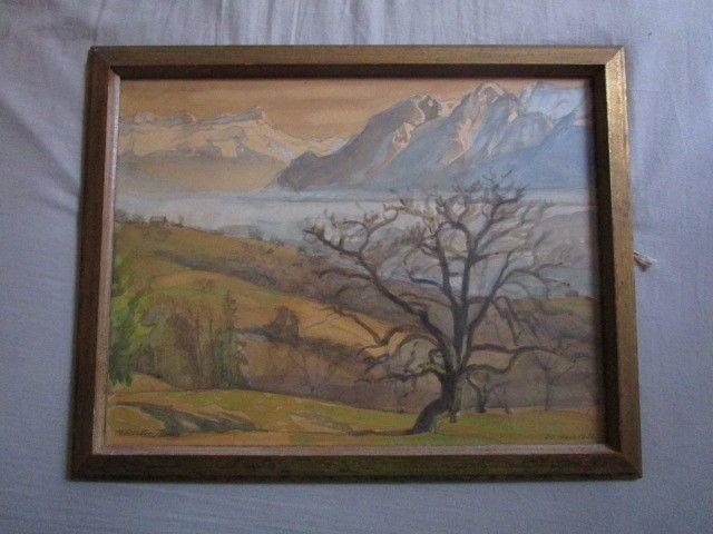 Peinture Ancienne Aquarelle Marque M Reuter Jonad Signe Maggie 31