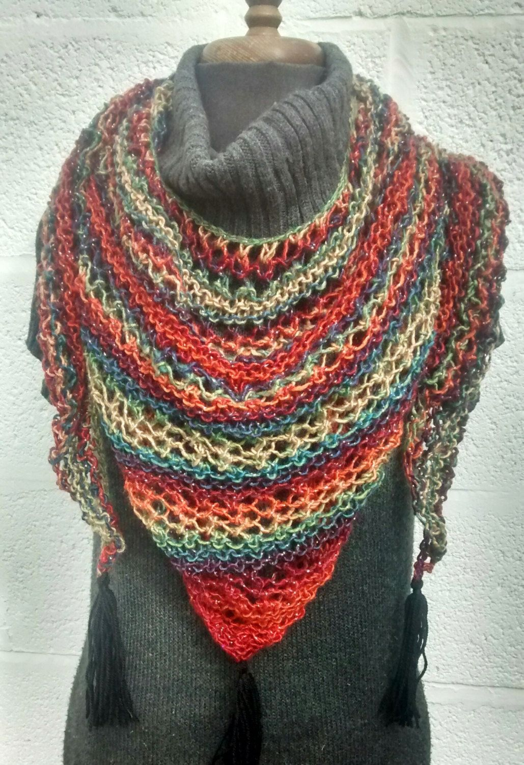 Photo of Ladies Scarf, Handmade Scarf, Knitted Triangle Scarf, Shawl with Tassels, Ladies Wrap, Kath Heywood Designs, UK