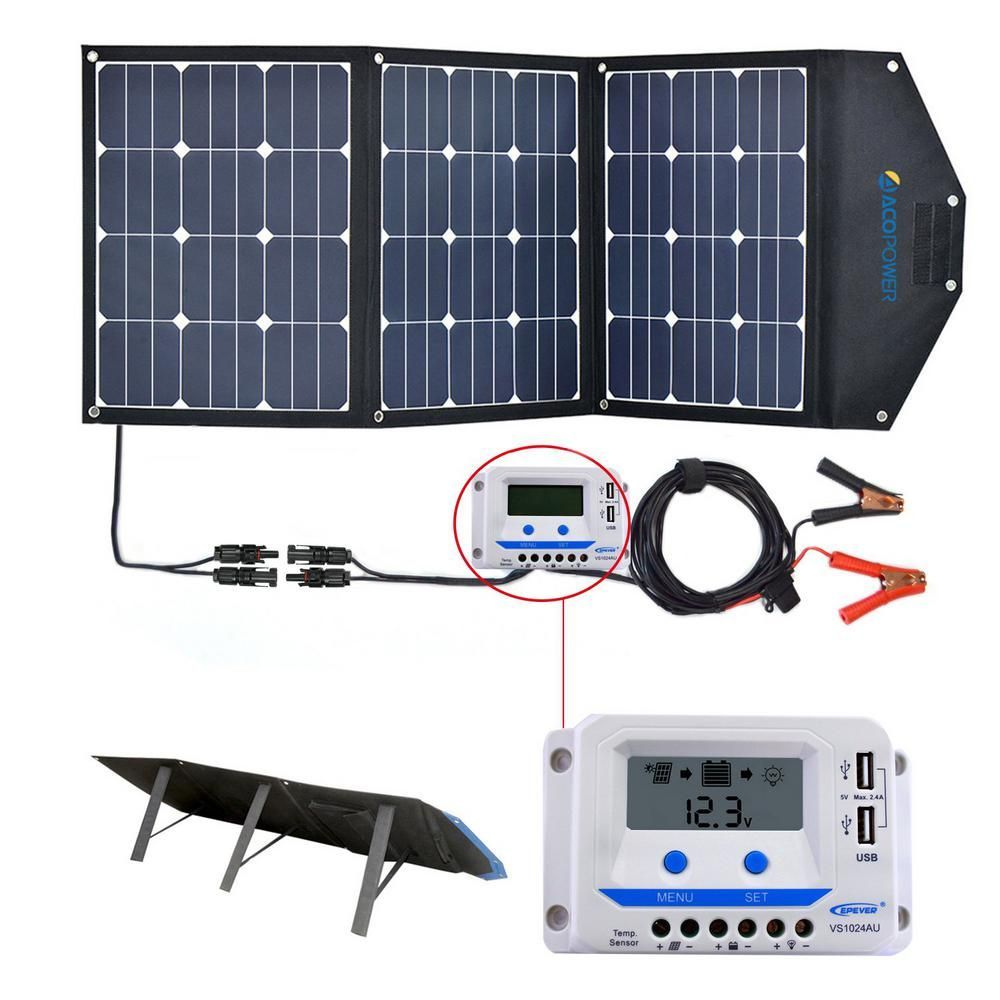 Acopower 120 Watt Foldable Suitcase Offgrid Solar Panel Kit Black In 2020 Portable Solar Panels Solar Panel Kits Solar Panels