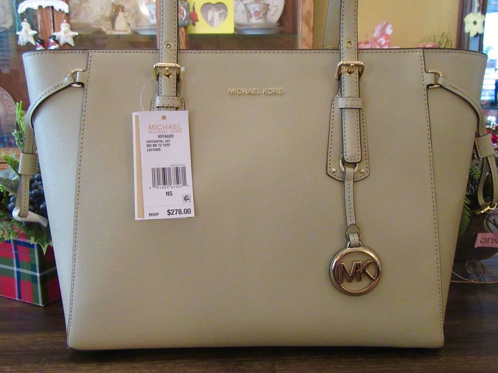 ae249e1e9 New Michael Kors Oat Leather Tan Voyager MD Top Zip Tote Purse $278 ...