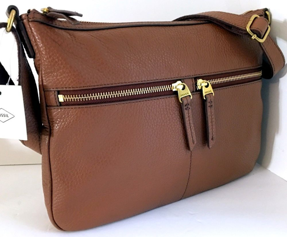 4d94cfb62c05 NEW FOSSIL Elise Large Crossbody Shoulder Bag Brown Genuine Pebbled Leather  NWT  Fossil  Crossbody