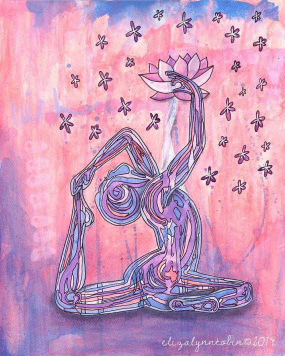 Yoga Art Wish Lotus Print Ot Elizatobin Na Etsy Yoga Art Art Lotus Yoga