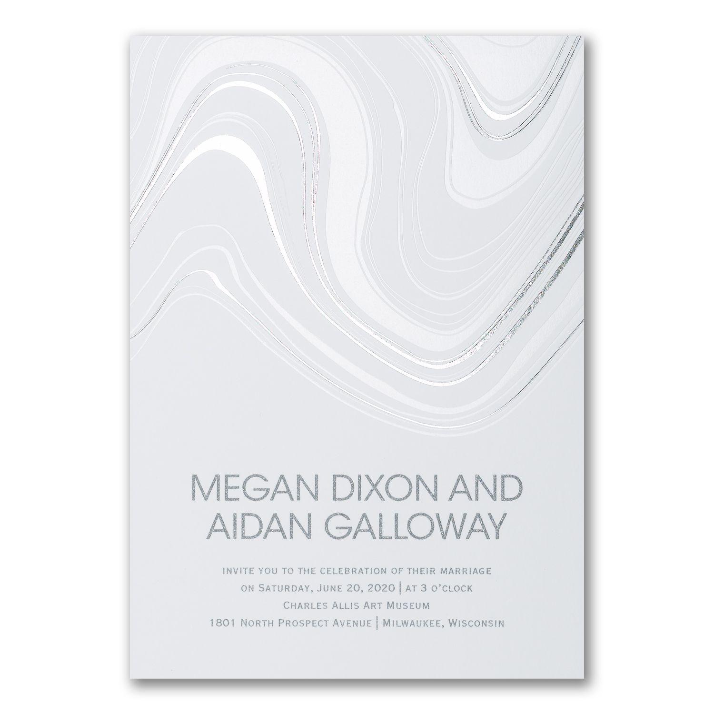 Wedding Venues Near Me Cheap: Topographic Marble - Invitation
