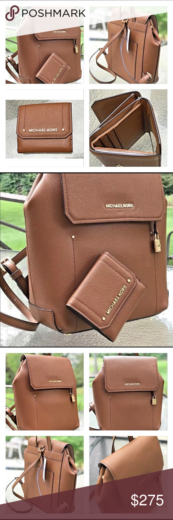 ff55a405d3bc Michael Kors Hayes backpack and small wallet set MICHAEL KORS Hayes Medium Backpack  Leather LUGGAGE +Matching LUGGAGE Leather Wallet BRAND NEW WITH TAG!