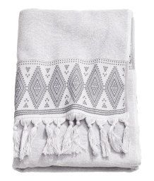 Bath Towel with Embroidery | Light gray | Home | H&M US