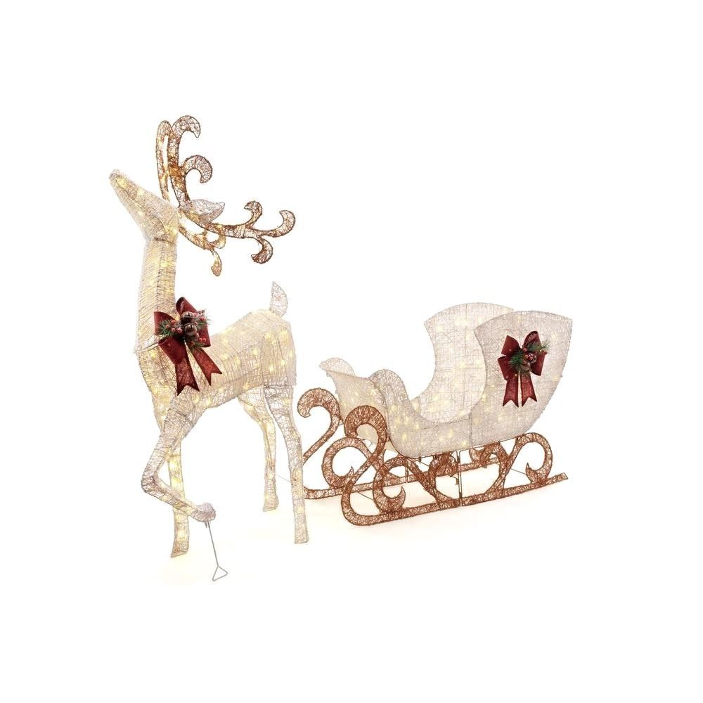 Lawn Decor Christmas 60 in. 160-Light PVC Deer and 44 in. 120 ...