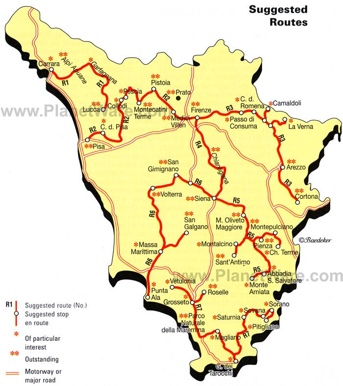 Solid List Of Great Towns Tuscany Suggested Tour Routes Map: Map Of Italy Showing Tuscany At Infoasik.co