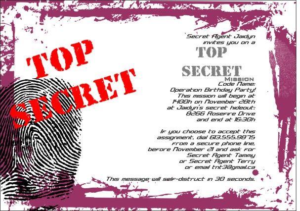 Spy party invitations top secret spy party birthday invitation spy party invitations top secret spy party birthday invitation template filmwisefo