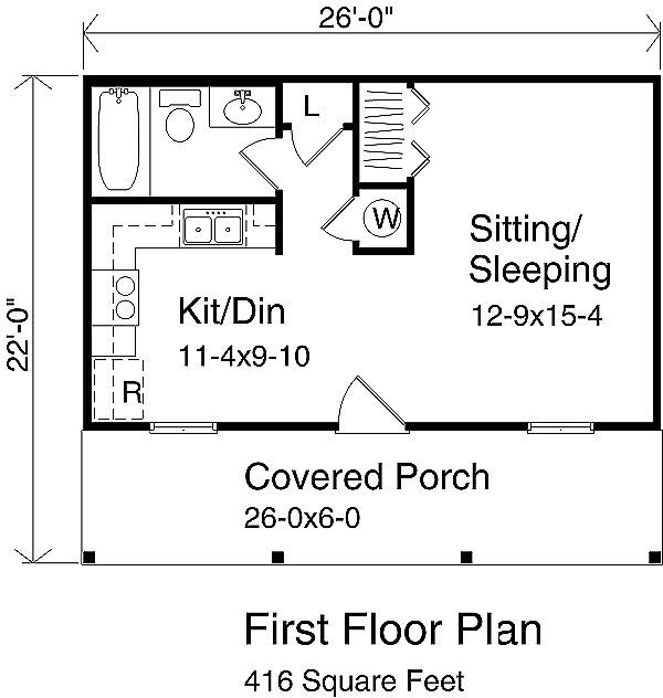 Cottage Style House Plan 1 Beds 1 Baths 416 Sq Ft Plan 22 121 Cottage Style House Plans Cottage Floor Plans Tiny House Floor Plans