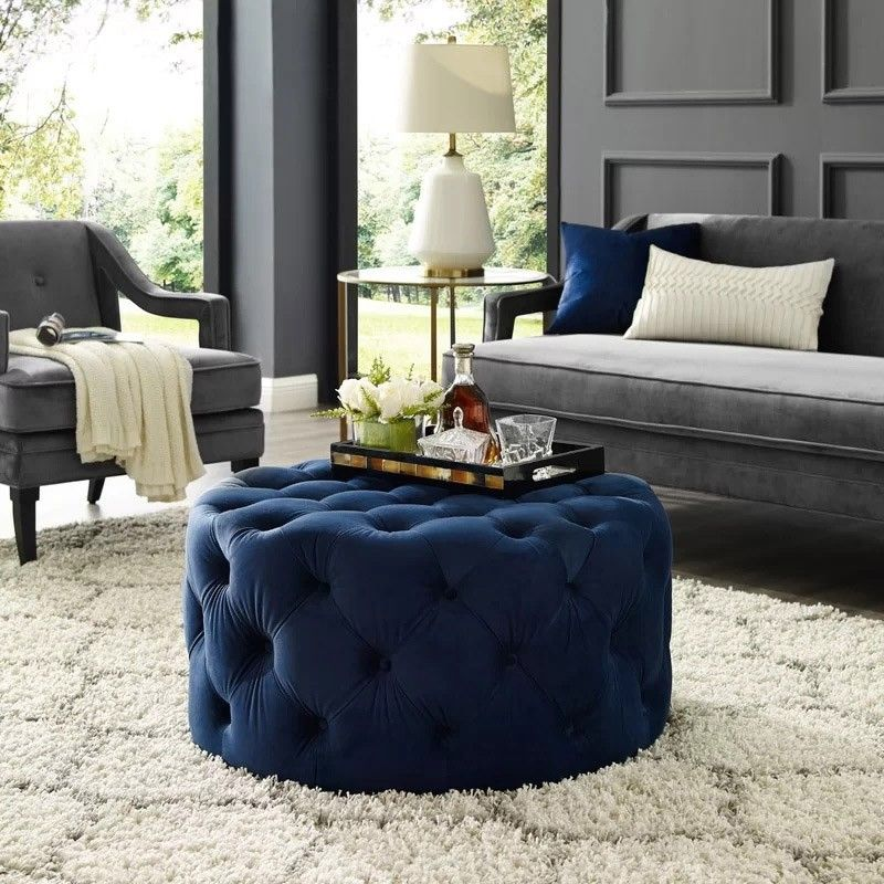 deep blue velvet ottoman coffee table
