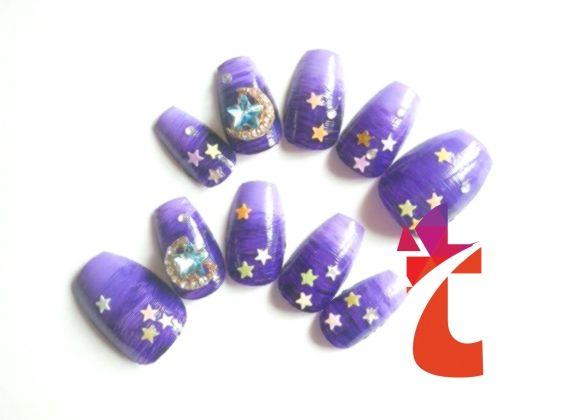 Purple Night Goth Fake Nails Acrylnägel Falsch von niceclaws, #Acrylic #Fake #False #goth …