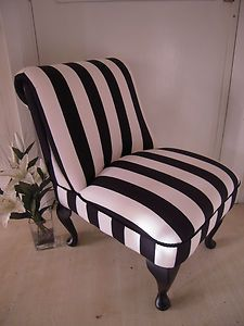 Black & white bedroom chair stripe traditional queen anne style legs ...