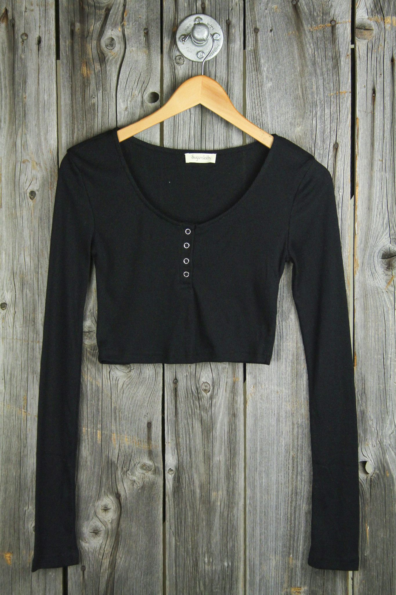6f19aa3052820 Cropped Rib Henley Top - Black Crop Top Dress