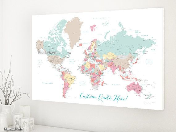 Custom quote pastels world map canvas print personalized canvas custom quote pastels world map canvas print personalized canvas travel pinboard world map with cities pastels nursery map map141 007 gumiabroncs Choice Image