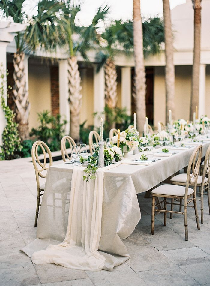 Botanical Wedding At Cannon Green Charleston Long Table Weddingtable Cloth