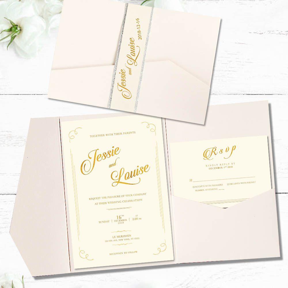 Ivory White Pocket Wedding Invitation Customized Invitation Cards With Silver Liner Pocket Wedding Invitations Wedding Invitations Popular Wedding Invitations