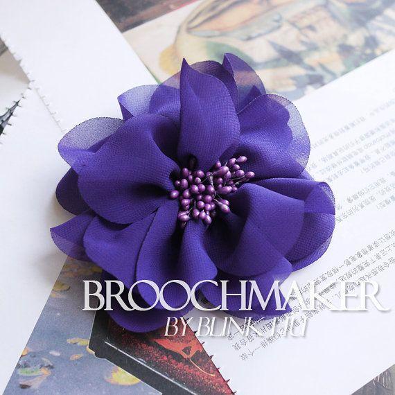 93fa23df40e17 110mm chiffon fabric flower corsage brooch pins Purple with Purple ...