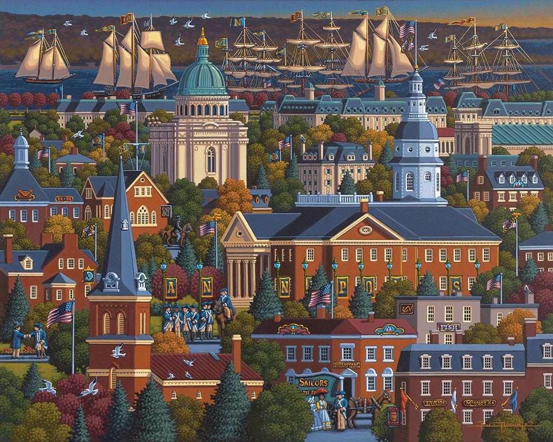 Annapolis By Eric Dowdle Annapolis Maryland Naval Academy Folk Art Painting Annapolis Folk Art