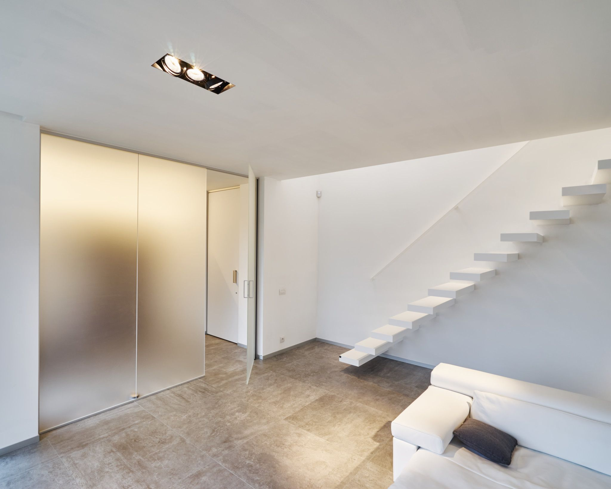 Modern Frosted Glass Door With Fixed Glass Partitions Next To It