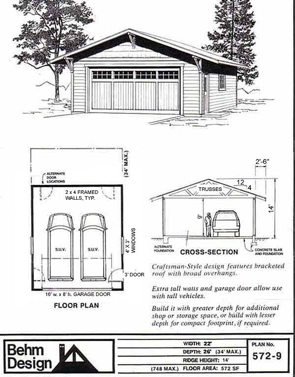 Craftsman Style Two Car Garage Plan 5729 22 x 26 by Behm Design – 26 X 26 Garage Plans