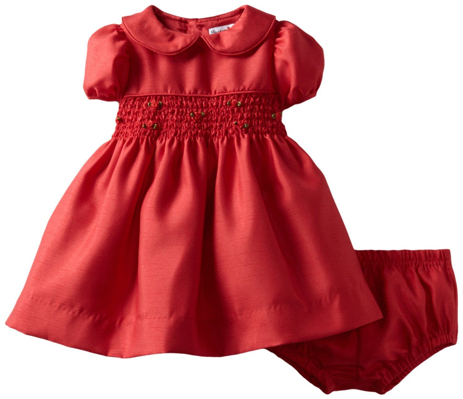 4b1d42ee32e Amazon.com  Hartstrings Baby-Girls Newborn Shantung Smocked Dress And  Diaper Cover Set  Clothing