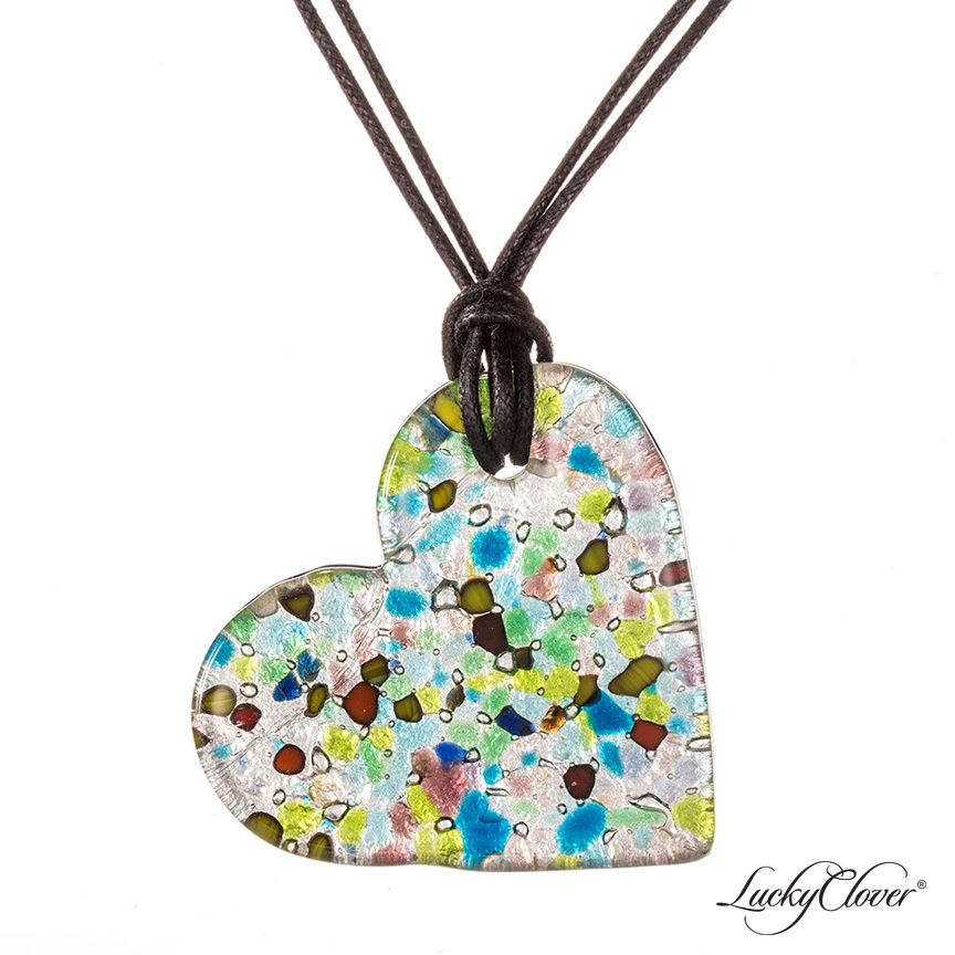 LuckyClover Jewelry - Flat Heart Murano Glass Multi-Color Necklace by LuckyClover® Jewelry, $52.00 (http://www.luckycloverjewelry.com/flat-heart-necklace-in-multi-color/)