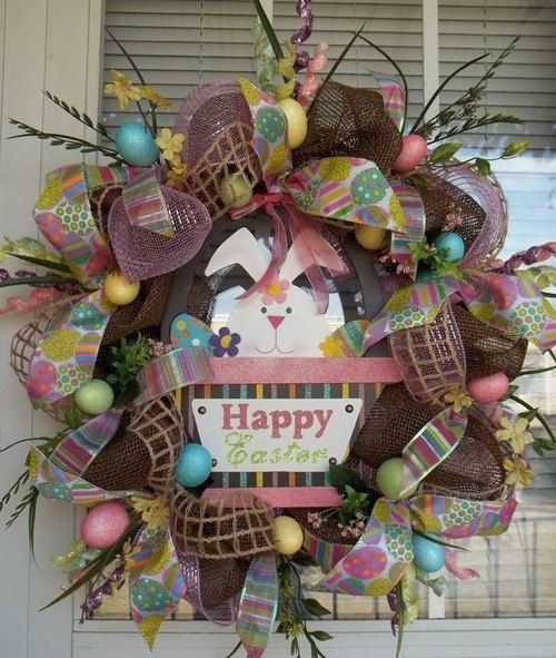 """EASTER  BRIGHTS"" - XL Chic Chocolate Burlap Deco- Mesh Easter Wreath Decoration, $149.95"