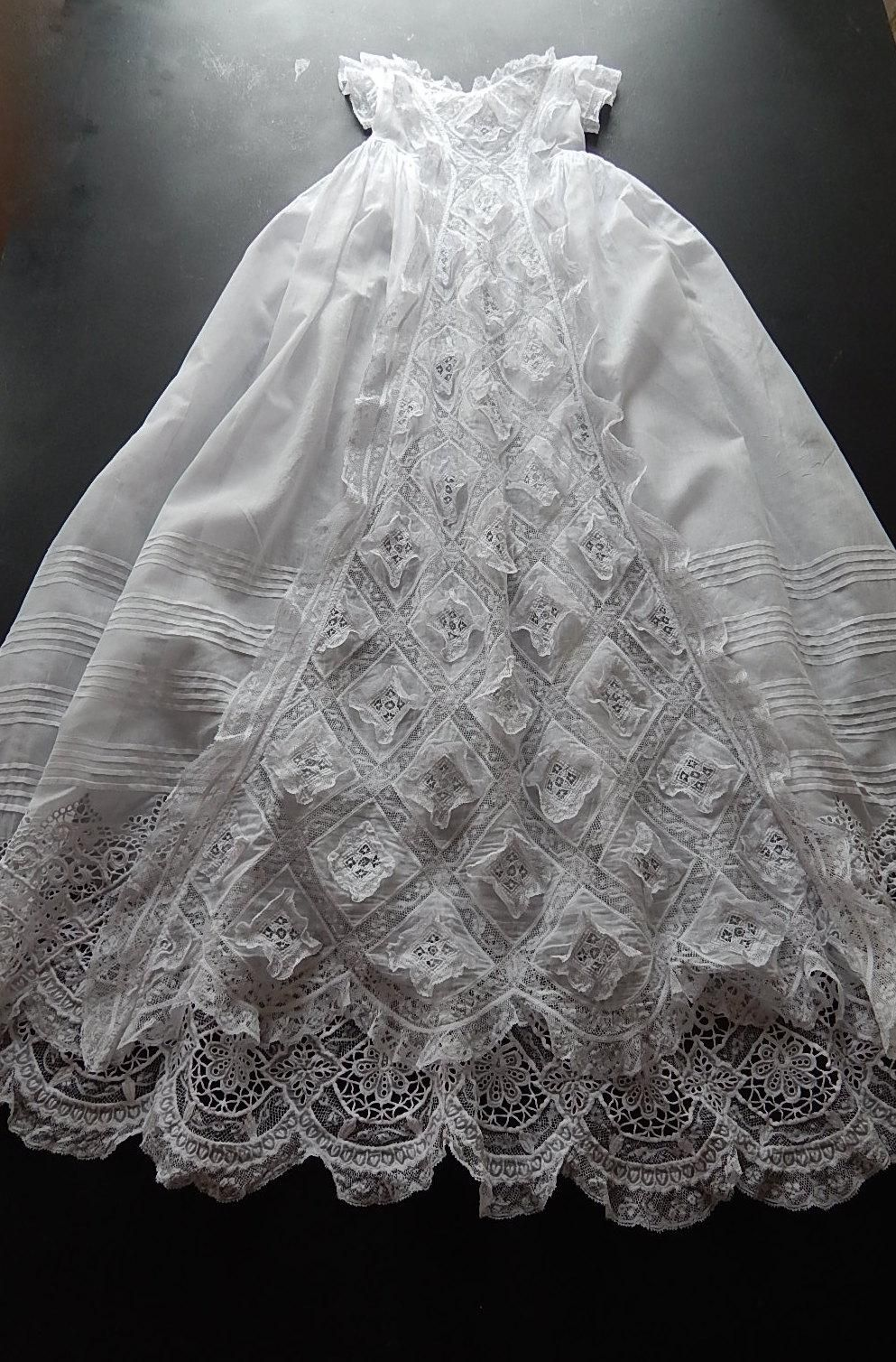 French Handmade Christening Gown With Exceptional Lace And