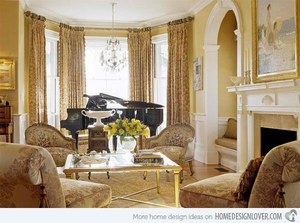15 Grand Piano Set Ups In Traditional Living Rooms Home Design Lover French Country Living Room Victorian Living Room Victorian Interior Design
