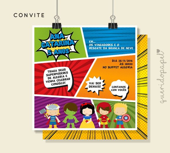 Convite Super Herois Convite Quadrinhos Festa Super Herois