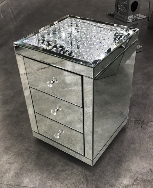 60cm Tall Silver Crushed Diamond Side Table Modern Glass Stand Bed Side .