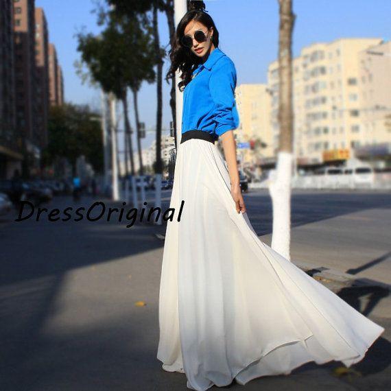 white Maxi skirt,  floor-length skirt, Double layered chiffon skirt, long summer skirt, draping skirts