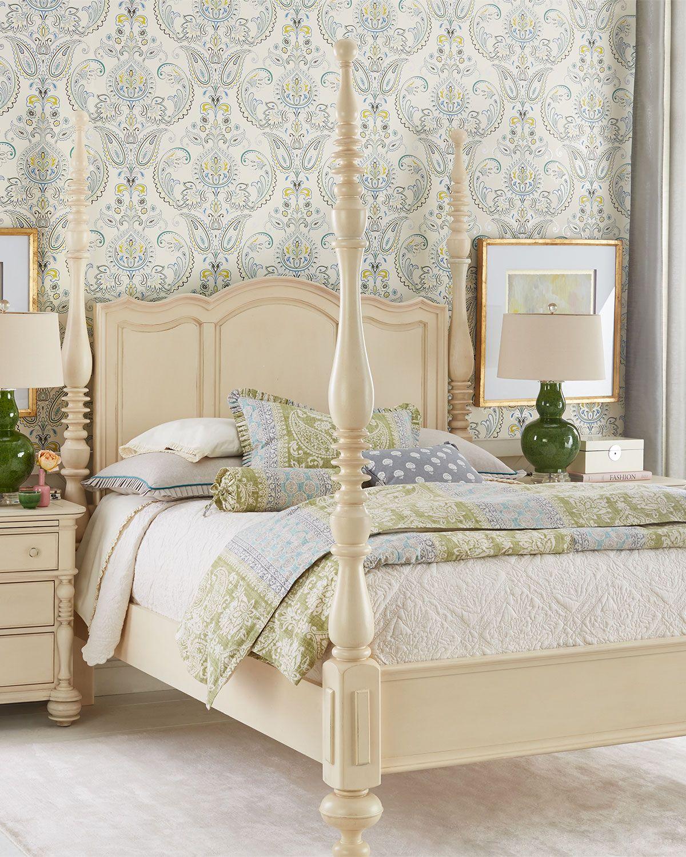 neiman marcus bedroom furniture. Annette Queen Poster Bed, White - Neiman Marcus Bedroom Furniture A