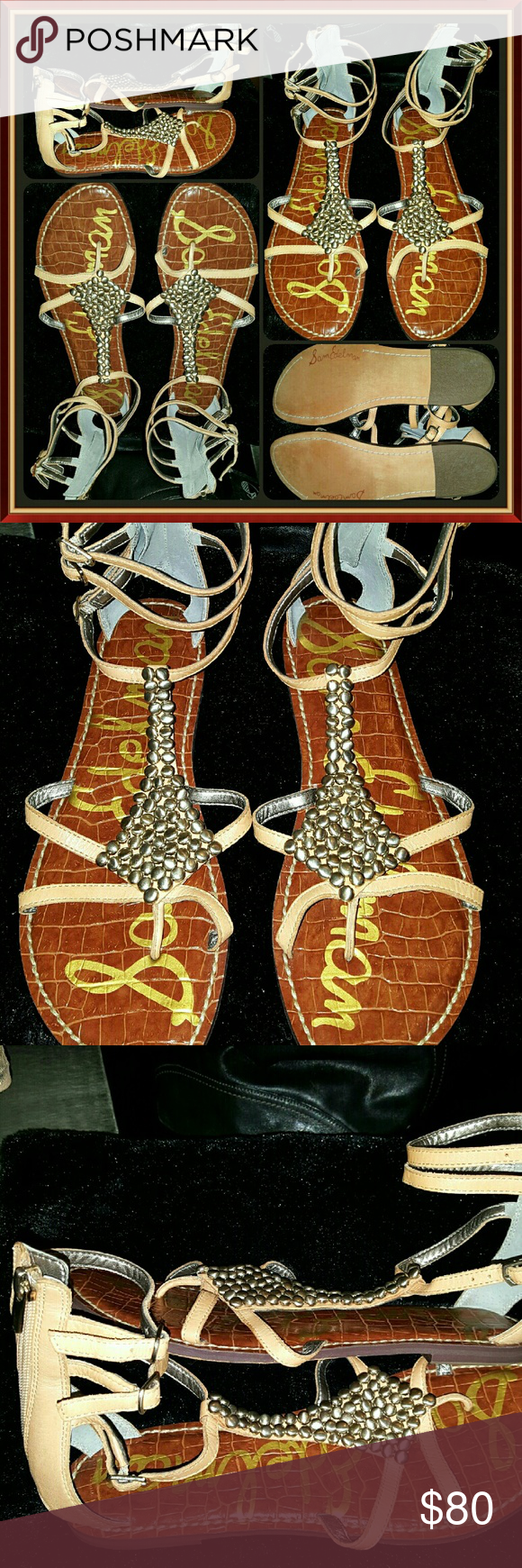 """SAM EDELMAN GLADIATOR metal bead BOHO GLAM SANDALS just 1 of 3 pairs of designer SAM EDELMAN equisite sandals I'll be posting 2day out of my OWN PERSONAL COLLECTION!...these are the """"GINGER"""" gladiator style sandals with the MOST AMAZING silver metal beaded accents...they are a LADIES SIZE-8 and in ABSOLUTE EXCELLENT almost like new condition as I ONLY WORE THEM ONCE! Sam Edelman Shoes Sandals"""