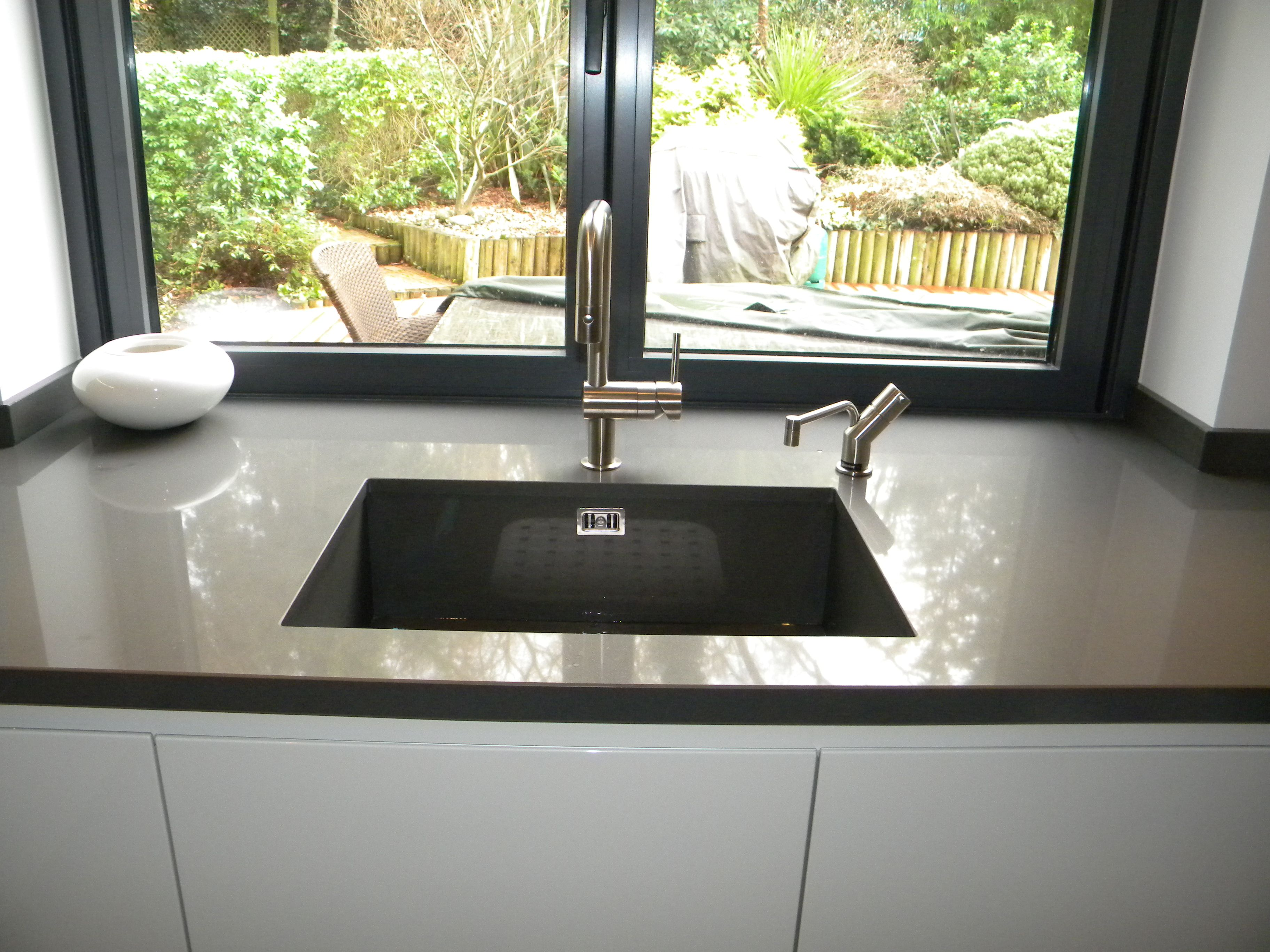 Quartz bowl with Grohe Minta U spout and Quooker hot tap   Quooker ...