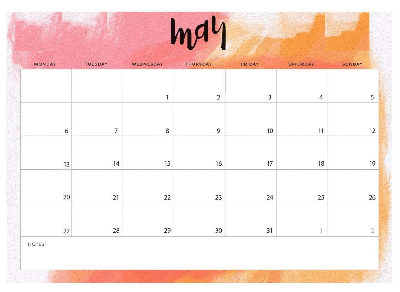 May Calendar Printable Design Template